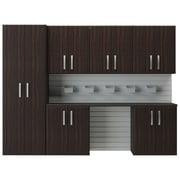 Flow Wall 6' H x 8'W 7 Piece Cabinet Set; Espresso