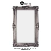 Majestic Mirror Antique Silver Leaf Finish Traditional Framed Beveled Glass Wall Mirror