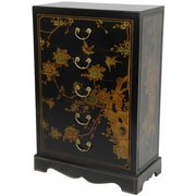 Oriental Furniture 5 Drawer Chest; Black Lacquer