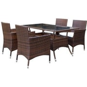 Manhattan Comfort Mulberry 5 Piece Dining Set w/ Cushion; Brown and White