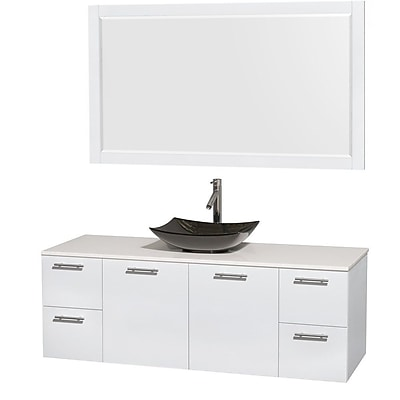 Wyndham Collection Amare 60'' Single Bathroom Vanity Set with Mirror; Glossy White