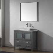 Virtu Dior 32'' Single Bathroom Vanity Set w/ Mirror and Marble Top; Zebra Gray