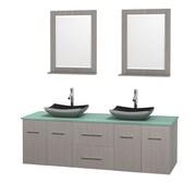 Wyndham Collection Centra 72'' Double Bathroom Vanity Set with Mirror; Gray Oak