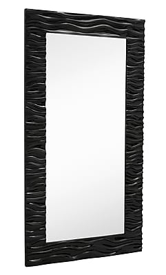 Majestic Mirror Large Stylish Rectangular Glossy White Lacquer Wavy Framed Glass Wall Mirror WYF078277337573