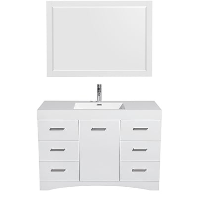 Wyndham Collection Delray 48'' Single Bathroom Vanity Set with Mirror; Glossy White