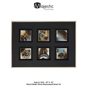 Majestic Mirror Clean Simple Contemporary Mixed Media Raised Wall Art - Style One