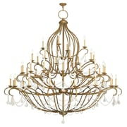 Livex Lighting Chesterfield 44 Light Crystal Chandelier; Hand Painted Antique Gold Leaf