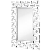 Majestic Mirror Modern Rectangular Wood Framed Mirror With Beveled Glass Mirror Panels