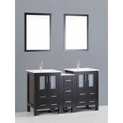 Bosconi Contemporary 60'' Double Bathroom Vanity Set with Mirror; Espresso
