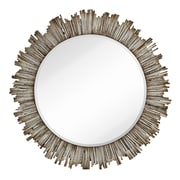 Majestic Mirror Large Round Beveled Accent Mirror with White Washed Wood Frame