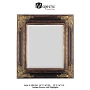Majestic Mirror Bronze with Gold Square Antique Framed Beveled Glass Wall Mirror