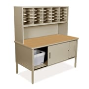 Marvel Office Furniture Mailroom 25 Adjustable Slot Literature Organizer with Riser and Cabinet