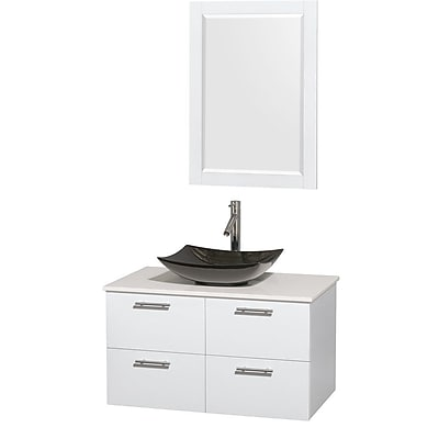 Wyndham Collection Amare 36'' Single Bathroom Vanity Set with Mirror; Glossy White