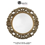 Majestic Mirror Traditional Antique Silver Round Beveled Glass Wall Mirror
