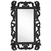 Majestic Mirror Large Rectangular Traditional Black Lacquer Beveled Glass Antique Wall Mirror