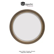 Majestic Mirror Large Round Traditional Silver Decorative Beveled Glass Wall Mirror