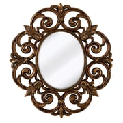 Majestic Mirror Traditional Round Bevel Wall Mirror; Antique Gold