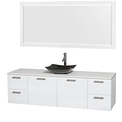 Wyndham Collection Amare 72'' Single Bathroom Vanity Set with Mirror; Glossy White