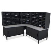 Marvel Office Furniture Mailroom 100 Slot Organizer with Cabinet; Black