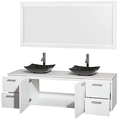 Wyndham Collection Amare 72'' Double Bathroom Vanity Set with Mirror; Glossy White