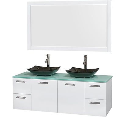 Wyndham Collection Amare 60'' Double Bathroom Vanity Set with Mirror; Glossy White