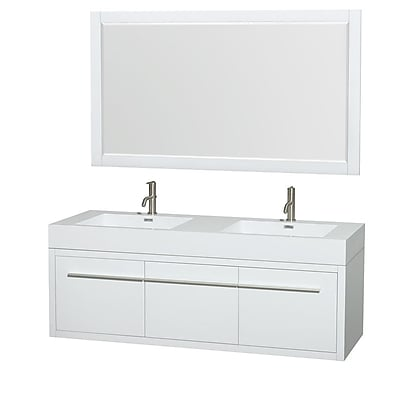 Wyndham Collection Axa 60'' Double Bathroom Vanity Set with Mirror; Glossy White