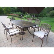 Oakland Living Oxford Mississippi 7 Piece Dining Set with Cushion and Umbrella
