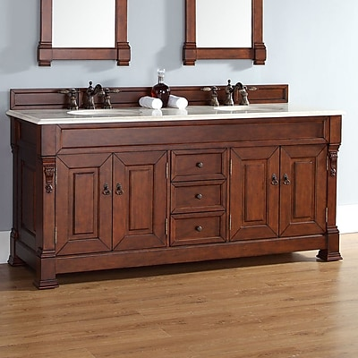 James Martin Furniture Brookfield 72'' Double Cabinet Vanity Base; Warm Cherry