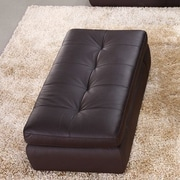 J&M Furniture Italian Leather Ottoman; Chocolate