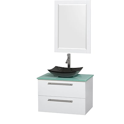 Wyndham Collection Amare 30'' Single Bathroom Vanity Set with Mirror; Glossy White
