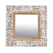 Jeffan New Hampton Square Mirror; White Wash