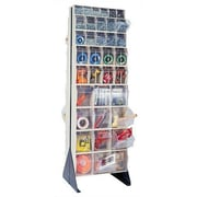 Quantum 75'' Double Sided Floor Stand Storage Unit w/ Tip Out Bins; Ivory