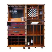 Authentic Models Stateroom Bar w/ Wine Storage; Black with Honey