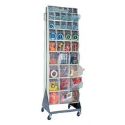 Quantum 70'' Mobile Double Sided Floor Stand Storage Unit w/ Tip Out Bins; Ivory
