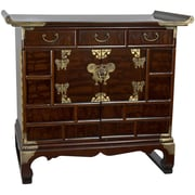 Oriental Furniture Korean 3 Drawer End Table Cabinet