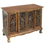 EXP D cor Handmade Acacia Exotic Peacocks Storage Accent Cabinet; Rich Dark