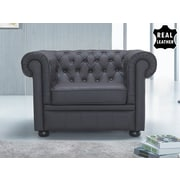 Beliani Chesterfield Leather Arm Chair; Brown