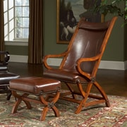 Largo Hunter Chair and Ottoman; Tobacco / Brown Leather