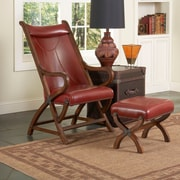 Largo Hunter Chair and Ottoman; Brown Cherry / Red Leather