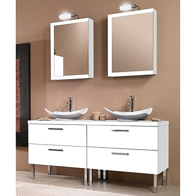 Iotti by Nameeks Aurora 61'' Double Bathroom Vanity Set with Mirror; Glossy White
