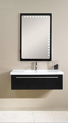 Iotti by Nameeks Fly 40'' Single Bathroom Vanity Set with Mirror; Glossy Black