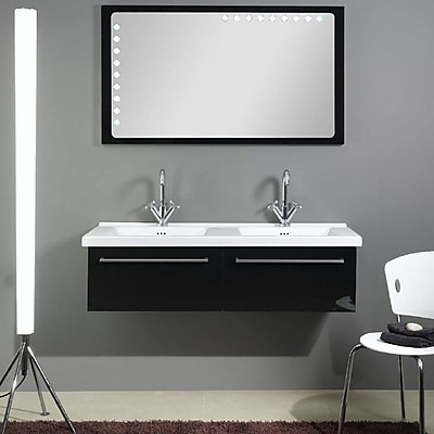 Iotti by Nameeks Fly 49'' Double Bathroom Vanity Set with Mirror; Glossy Black