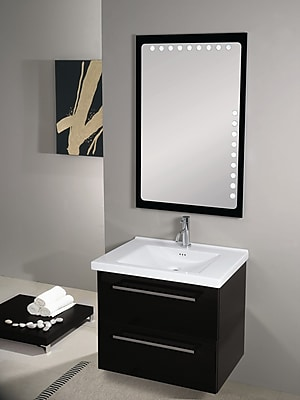 Iotti by Nameeks Fly 29'' Single Wall Mounted Bathroom Vanity Set with Mirror; Glossy Black