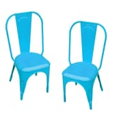 LeighCountry Leigh Classique Stacking Dining Side Chair (Set of 2); Blue