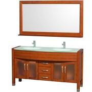 Wyndham Collection Daytona 60'' Double Bathroom Vanity Set with Mirror; Cherry