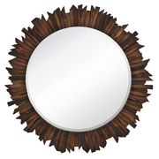 Majestic Mirror Funky Natural Wood Round Accent Mirror