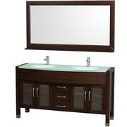 Wyndham Collection Daytona 60'' Double Bathroom Vanity Set with Mirror; Espresso