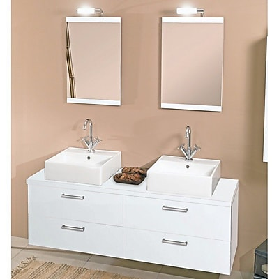 Iotti by Nameeks Aurora 60'' Double Bathroom Vanity Set with Mirror; Glossy White