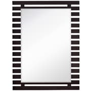 Majestic Mirror Stylish Rectangular Dark Brown Wood Framed Modern Beveled Glass Wall Mirror