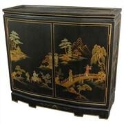 Oriental Furniture Landscape Japanese Slant Front Cabinet